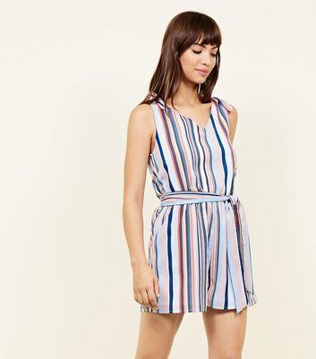 Qed Orange Stripe Tie Shoulder Playsuit by New Look