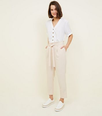 Stone Paperbag Waist Tapered Trousers