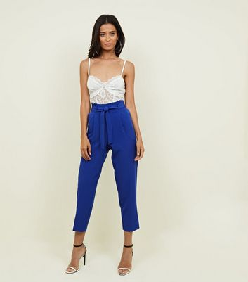 Bright Blue Paperbag Waist Tapered Trousers