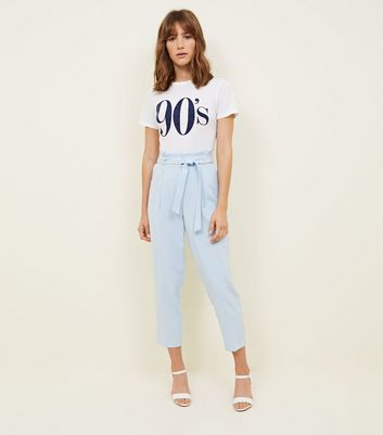 Blue Paperbag Waist Tapered Trousers