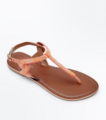 Coral Leather Beaded Twist Side Flat Sandals
