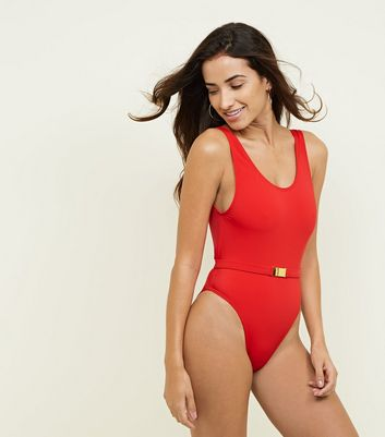 Red Belted Hardware Swimsuit