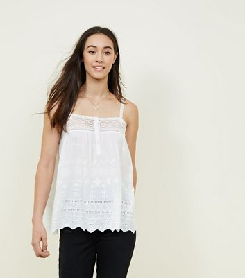 New Look Broderie Lace Trim Cami Clearance Pay With Visa Very Cheap For Sale Fashion Style For Sale pcwzK5f4m0