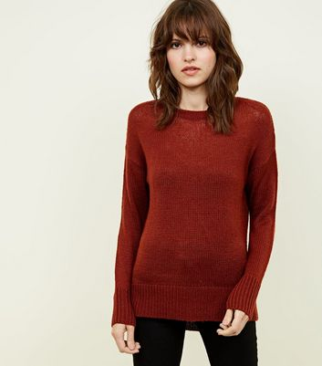 Rust Curved Hem Jumper