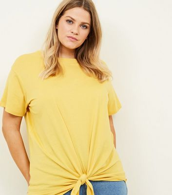 Curves Yellow Tie Front T-Shirt