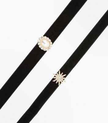 Black 2 Pack Star and Pearl Chokers