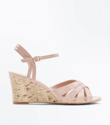 Nude Patent Low Cork Wedges