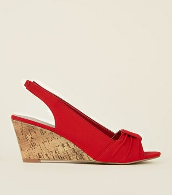 Red Comfort Canvas Slingback Cork Wedges