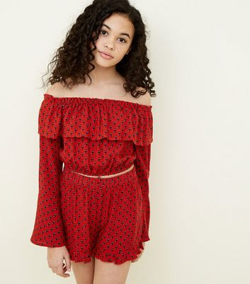 Teens Red Tile Print Bardot Top