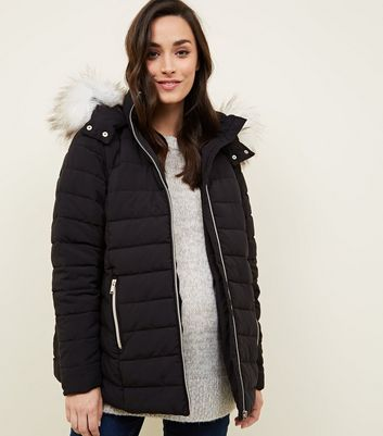 Maternity Black Hooded Puffer Jacket