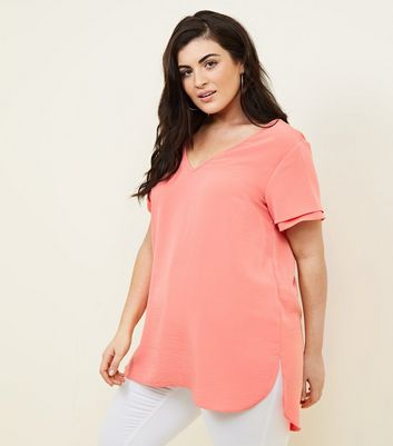 Curves Coral Tiered Sleeve Blouse
