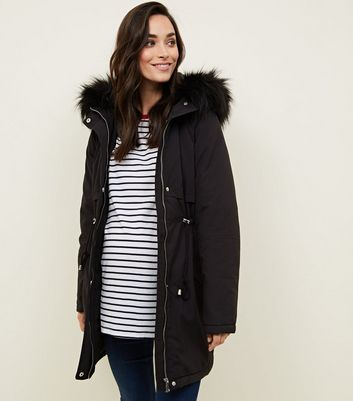 Maternity Black Faux Fur Trim Hooded Parka
