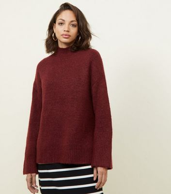 Burgundy Flared Sleeve Longline Jumper
