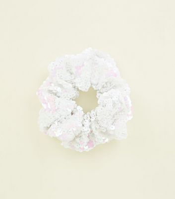 Mid Pink Iridescent Sequin Scrunchie