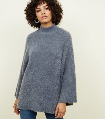 Dark Grey Fluffy Wide Sleeve Jumper