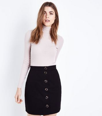 Black Twill Button Front Mini Skirt