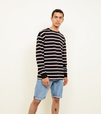 Coral and White Stripe Long Sleeve T-Shirt