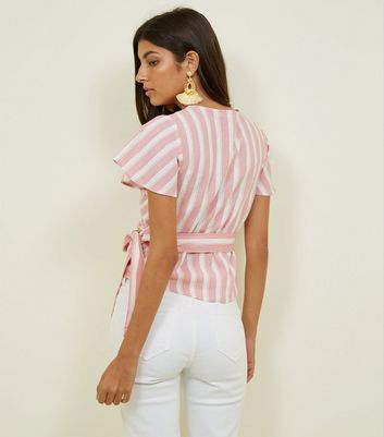 Free Shipping For Sale Cheap Sale Footaction New Look Pink Stripe Flutter Sleeve Linen Blend Wrap Top Top Quality Sale Online Amazon Cheap Online EjjNWWaWj