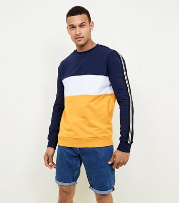 Yellow Colour Block Sweatshirt