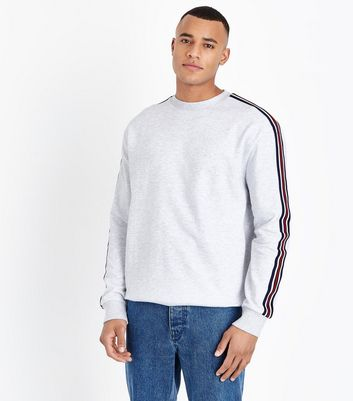 Grey Stripe Sleeve Sweatshirt