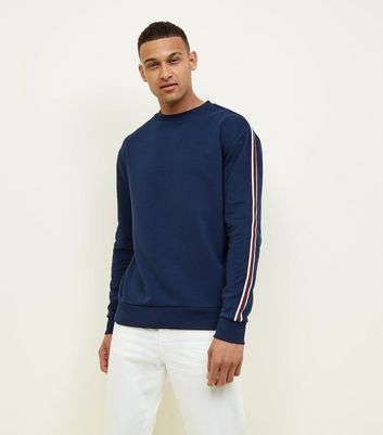 Navy Stripe Sleeve Sweatshirt