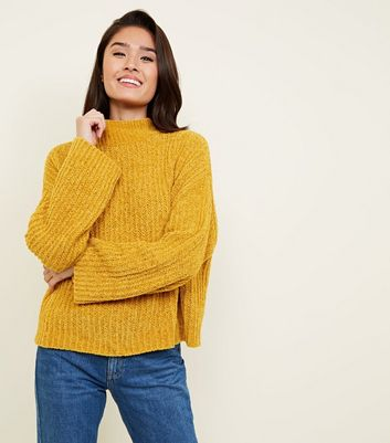 Mustard Flared Sleeve Chenille Jumper