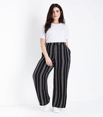 Curves Black Stripe Wide Leg Trousers