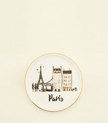 White Paris Ceramic Trinket Tray by New Look