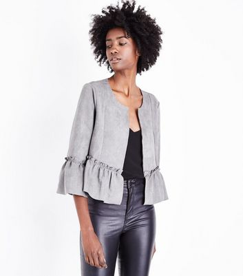 Cameo Rose Pale Grey Suedette Frill Hem Jacket