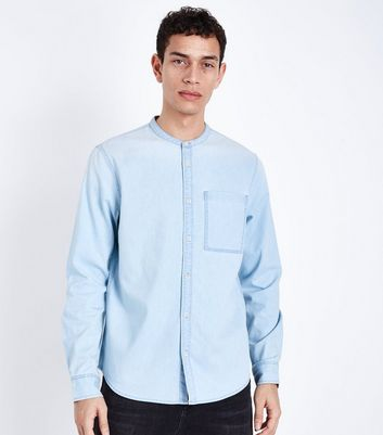 Blue Bleach Denim Grandad Collar Shirt