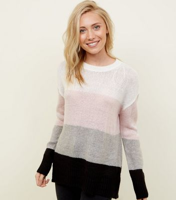 Petite White Colour Block Jumper