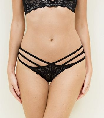 Black Strappy Lace Brazilian Briefs