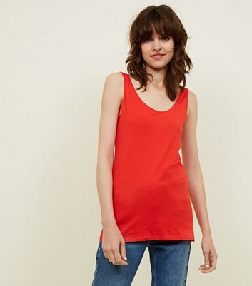 Tall Red Scoop Neck Vest Top
