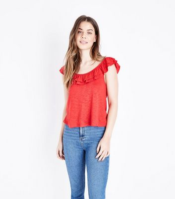 Red Frill Trim Vest Top