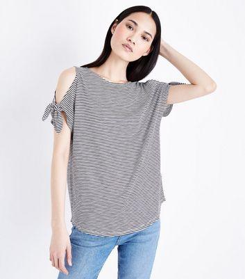 ... White Stripe Tie Cold Shoulder T-Shirt