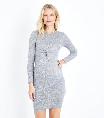 Maternity Grey Fine Knit Twist Front Bodycon Dress