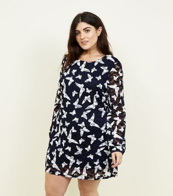 Mela Curves Blue Lace Butterfly Tunic Dress