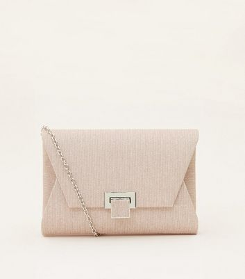 Rose Gold Glitter Mesh Envelope Clutch Bag