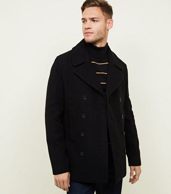 Navy Double Breasted Button Side Pocket Pea Coat