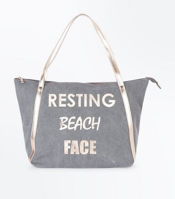 Grey Resting Beach Face Slogan Shopper Bag
