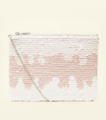 Pink Sequin Zip Top Clutch Bag