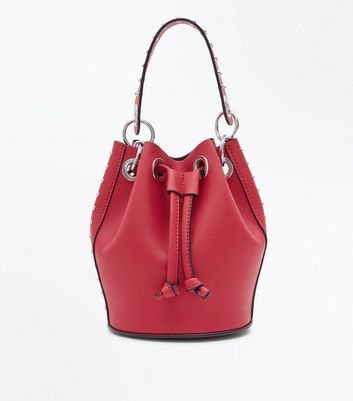 Red Studded Mini Duffle Bag