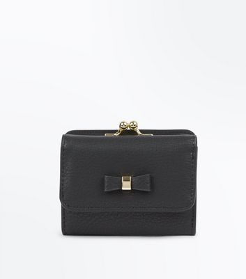 Black Bow Front Small Purse by New Look