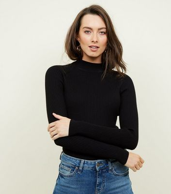 Black Ribbed Funnel Neck Jumper