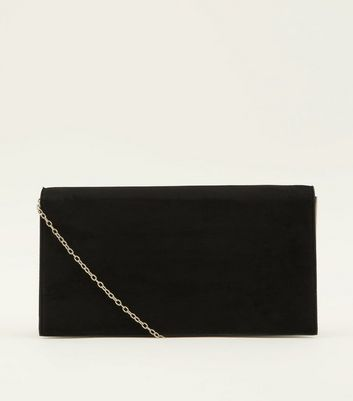 Black Side Bar Foldover Clutch Bag