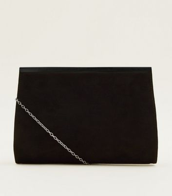 Black Faux Suede Bar Clutch Bag