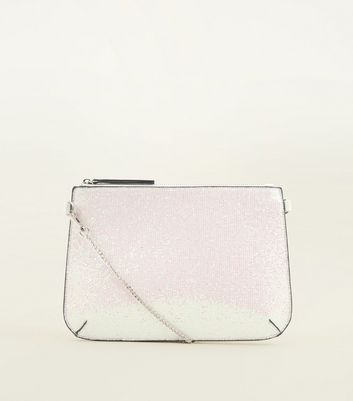 White Iridescent Glitter Zip Top Clutch Bag