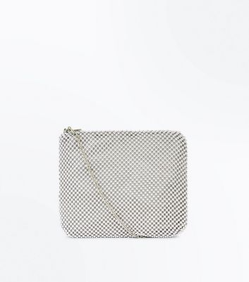 Silver Beaded Clutch Bag