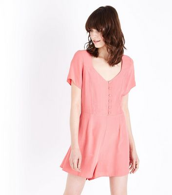 Coral Button Front Lace-Up Back Playsuit