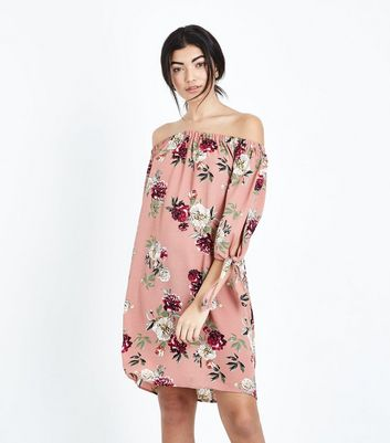 Pink Floral Tie Sleeve Bardot Neck Mini Dress